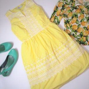 Vineyard Vines Yellow Embroidered Tea Sun Dress